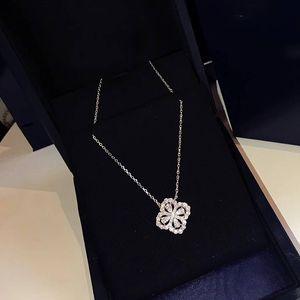 Marque pur 925 bijoux en argent sterling pour les femmes Lotus Flower Neckalce Fleur Pendentif chance Trèfle Sakura Collier de soirée de mariage