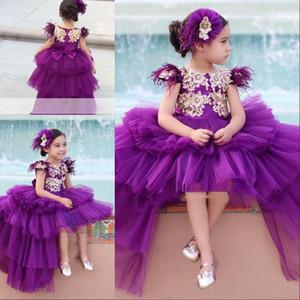 Elegante Hi-Lo roxo As meninas Pageant Vestidos da princesa Manga Cap de Ouro apliques longo da criança Party Girl Flower Crianças Prom Vestidos For Kids