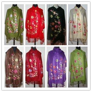 ¡¡Caliente!! Rojo / negro Verde 8 colores Nuevo Suave niñas Lady Women Cashmere Embroidered Shawl / bufanda / bufandas Wrap Pashmina envío gratis