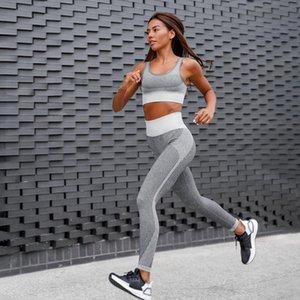 2020 New Seamless Yoga Suit Women 2Pcs Sleeveless Tank + Push Up Tights Leggings Workout Clothes Sportswear Gym Fitness Yoga Set