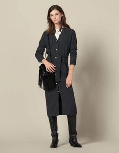 YUNINYOYO bouton perle élégante française extra longue lacer laine et cachemire femmes automne hiver cardigan long ~ excellente