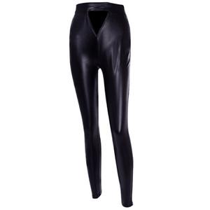 Sexy Negro fresco de la manera delgado femenino caliente Sólido forma de U brillantes de las mujeres de talle alto flaco estiramiento de la PU de cuero delgado pantalones apretados de las polainas
