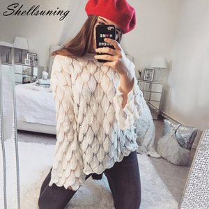 Shellsuning Knited Sweater Mujeres 3D Fish Scale O Cuello Jersey de gran tamaño Pink White Jumper Christmas Bottoming suéteres de invierno