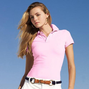 2019 새로운 여성 브랜드 의류 짧은 소매 셔츠 옷깃 비즈니스 여성 폴로 셔츠 큰 말 악어 자 수 코 튼 여자 폴로 셔츠