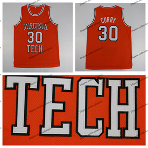Мужская Винтаж Dell Curry 30 Virginia Tech Hokies Колледжи Баскетбол Дешевые Оранжевый Dell Карри сшитые рубашки S-XXL