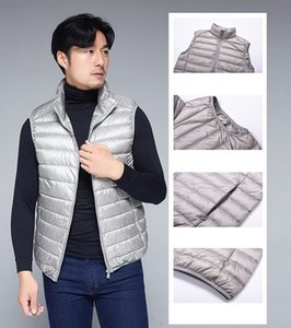 2020 Brand New Men's White Duck Down Filled Vest Coat Waistcoat Ultra-light Sleeveless Jacket Casual Outwear Solid Colors