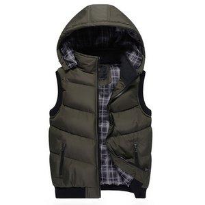 Мужчины Зима рукавов вниз куртки вскользь с капюшоном жилет Мода Теплого Outwear пальто для мужчин Zipper Lovers Ветровка Большого размера 5XL