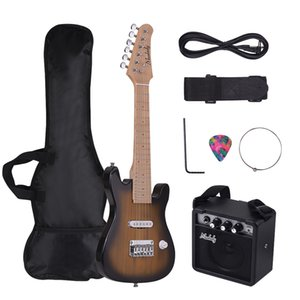 Muslady 28 Inch Kids ST Electric Guitar Kit Maple Neck Paulownia with Mini Amplifier Guitar Bag Strap Pick String Audio Cable