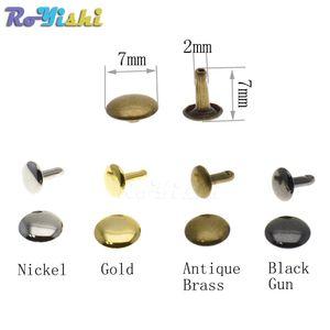 500pcs / комплект 7mmx7mm Metal Double Cap Заклепки Stud Rapid Заклепки Столкновение Nail Metal Spike Leather Craft ремонт 4 цвета