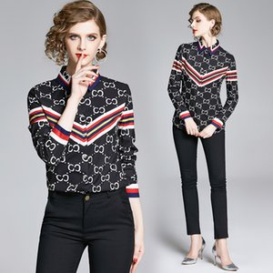 High-end Lady Shirt Long Sleeve Spring Autumn Tops Printed OL Women Shirt Temperament Business Blouse