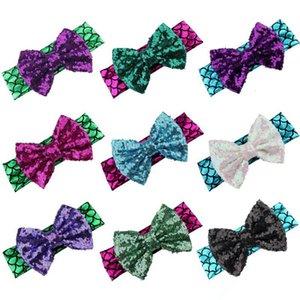 5 Inç Kızlar Mermaid Kafa Çocuk Çocuklar Glitter Hairbow Sequins ile yay Dans Parti Saç Aksesuarları 10 Renkler için seçin