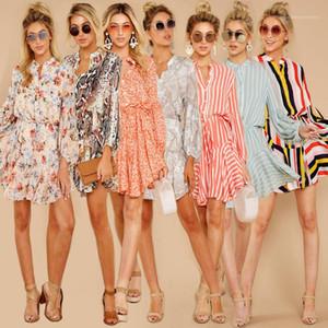 캐주얼 허리 라운드 넥 긴 소매 불규칙한 의류 여름 디자이너 Famale 드레스 Womens 멀티 스타일 인쇄 드레스