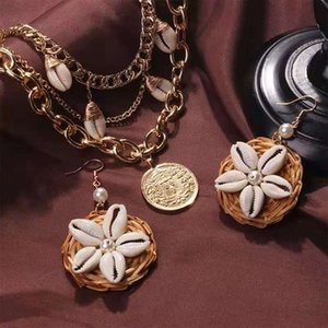 shell кулон ожерелье ротанга Кос жемчуг мотаться серьги для женщин богемный праздник стиль пляж комплект ювелирных изделий подарок на день рождения для подруги