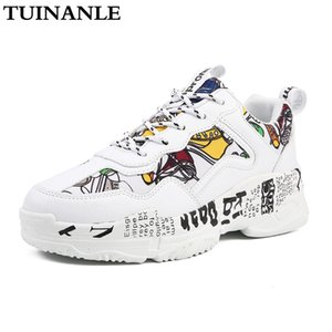 TUINANLE Chaussures Femmes d'été Chaussures Femme Mode Casual Graffiti Flats Ladies vulcanisée Chaussures Blanc Chaussures Zapatos Mujer