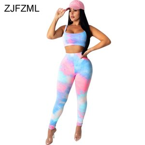Tie Dye Print Two Piece Matching Set Clothes For Women Sleeveless Tank Crop Top Skinny Pencil Pant Suit Club Outfit Tracksuits