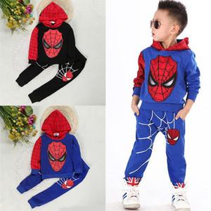 Spiderman niños Ropa de bebé Establece 2 colores del otoño del resorte Niños suéter manga larga con capucha top + pantalones de dos piezas Conjunto JY638