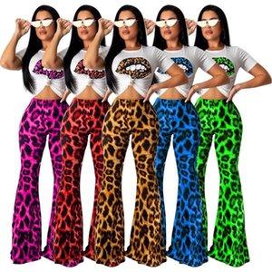 Два куска платье 2021 осенью женщин леопардовый рот футболка печатает широкие брюки ноги костюм набор мода спортивная одежда 4 цвета GLTS968