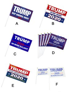 2020 Trump flags Small Flag President election Hand Held trump Stick banner keep America great for home decoration 14*21cm with flagstaff
