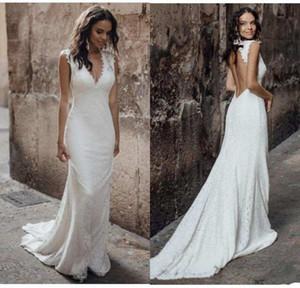 Сексуальный скромный глубокий V-образные кружевные русалки свадебные платья 2020 полые задние спинки разведка свадебные свадебные платья