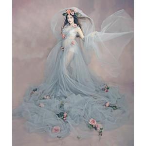 3pcs Maternità Fotografia Puntelli lungo stabilito di gravidanza maternità Dress + Bridal Veil fascia del fiore di colore rosa + per Servizio fotografico