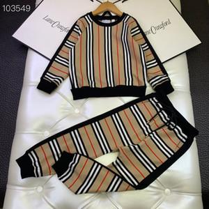 Moda Çocuk kızlar Boys 2 adet setleri 2020 ilkbahar sonbahar tasarım şerit atlama üstleri + rahat pantolon kıyafetler reatail