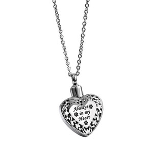 New Popular Titanium Steel Heart Pendant Necklace For Ashes Memorial Cremation Jewelry With Paw Print For Pet Dog Cat Ashes