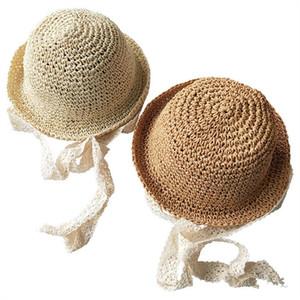 Il bambino scherza Cappelli di paglia Moda protezione della visiera con allacciatura spiaggia cappello Carino Stingy del bordo di Sun dei cappelli pieghevoli Caps traspirante Sunhat Fodera Sport