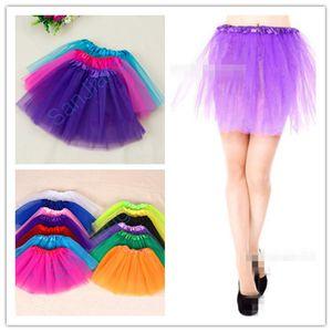 16 Farben Adult Mädchen Tutu-Kleid-Süßigkeit Regenbogen-Farben-Partei-Mesh-Röcke Tanzkleider Tutus Sommer Blase Verbandsmull Ballett mini kurzer Rock-E3610