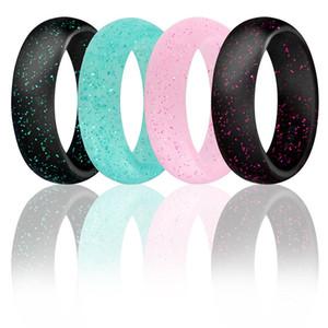 Bajo MOQ 5.7mm de ancho nuevo anillo de silicona brillo Anillos de silicona para mujer Alianzas de boda para mujer Outlet de fábrica paquete único pedido mixto disponible