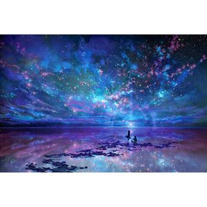 DIY Frame Oil paint Painting By Numbers Landscape lover seeing stars Starry sky acrylic Canvas Painting Wall Art Home Decor