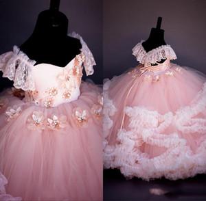 Rose dentelle perlée robes fille fleur robe de bal fait main fleurs pas cher petite fille robes de mariée vintage fille Robes Robes