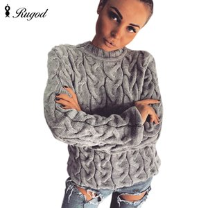 RUGOD 2018 Spring Twisted pull en tricot pour les femmes Mode Multi Couleurs O manches longues en vrac Pull Tops Pull Femme T191230 Hiver