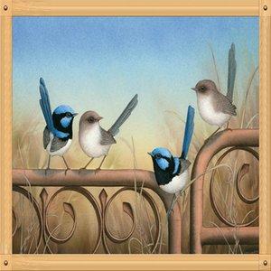 Broca travesso Pássaro completa DIY 5D rodada Rhinestone Bordados Diamante Pintura Cruz Cavalo Stitch Kits Mosaice animal Ornamental
