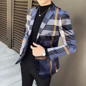 Otoño de negocio de la vendimia Casual Blazer Hombre Homens Terno Masculino estilo Blazers un botón de tela escocesa Check Blazer Hombres Slim Fit