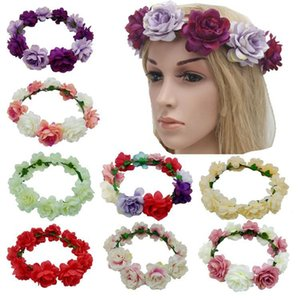 Hot sale Bohemia Wedding Bride's Flower Crown children's head ornaments Wreaths handwork artificial Flowers Hair hoop T3I0318