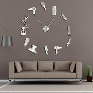DIY Barber Shop riesige Wanduhr Mit Spiegeleffekt Barber Toolkits Dekorative Frameless-Taktgeber-Uhr Friseur Barber-Wand-Kunst