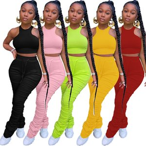 Women designer solid color two piece skinny slim tracksuits Sweatsuit tanks Ruched Pants Tee Tops Legging jogging Suit 3448