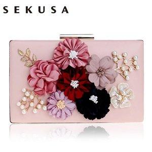 SEKUSA PU Mode Femmes Soirée Sac Fleur Perlée Petit Jour Embrayage Soirée Sac Avec Chaîne Épaule Sacs À Main