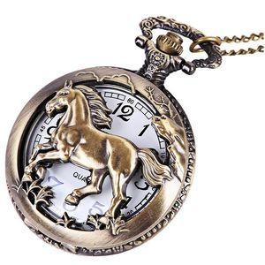 ретро старинное животное полой лошадь большого циферблат Nacklace цепь карманных часы оптовых унисекс женщины мужских платья кварцевых часы