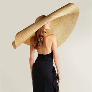 Mode Lady Straw Hat Femmes d'été Pare-soleil Sunhat Floppy Bucket Cap surdimensionné Femme Chapeau de paille plage protection anti-UV