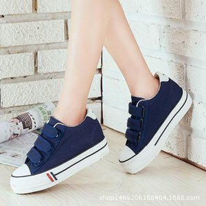 Spring Hook And Loop Canvas Shoes Women &#039 ;S With Thick Soles White Casual Korean Version Of Board Student Tide