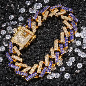 15mm Gold Hip Hop Micro Асфальтовой Стразы Bling Iced Out Square кубинского Майами Ссылка цепь браслеты для мужчин рэппер ювелирных изделий 8inch