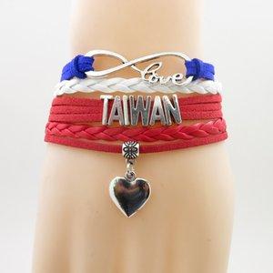 Infinity Aşk Tayvan Bilezik Kalp Charm Tayvan Bayrağı Kadın Ve Erkek Takı Için Bilezik Bilezik