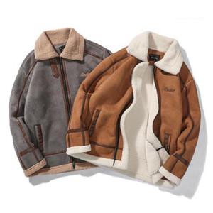 Estilo Moda Casual Ropa para hombre otoño diseñador piel de imitación de la solapa de cuello de manga larga de la cremallera del Hombre Ropa