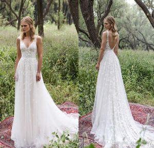 Waishidress Limor Rosen nuovi abiti da sposa pura sexy V backless piene del merletto Abiti da sposa sweep treno abito da sposa lungo