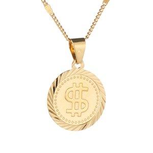Rock Hip Hop US Dollar Деньги Символ Вход Женщины Круглый ожерелье Модные ювелирные цепи монет