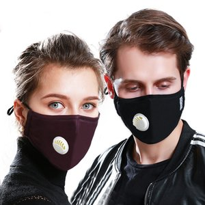 2020 dhl stock Anti haze active carbon PM2. 5 mask pure cotton breathing valve filter black stereo mask in spring and winter
