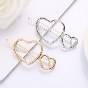 2 Hearts Hair Clip Clamps Girls  Ladies Gold Silver Cut Out Heart Shape Geometric Metal Hairpin Hair Clip