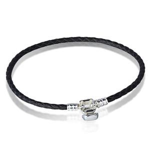 Wholesale- Authentic 925 Sterlingsilber-Haken-Korn-Original-Stempel Gewebte Leder-Armband für Pandora Charms-Armband DIY Art und Weise Schmuck