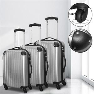 20 '' 24 '' 28 '' Bagaj Setleri Hardside Spinner Hafif Seyahat Çantası ABS Arabası Spinner Bavul TSA Kilit Gümüş Gri 3 Set